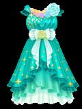 亮孔雀綠華麗洋裝